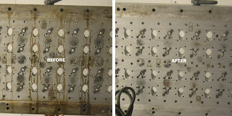 Before and after of injection mold cleaning